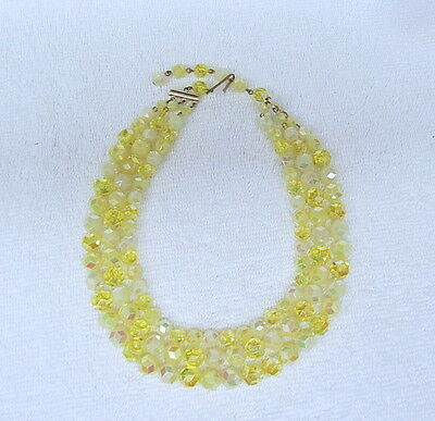 Vintage YELLOW 3 strand Sparkle Rainbow Carnival Crystal Choker Necklace Beads