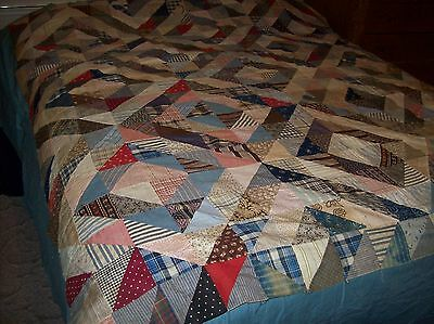 "Antique Quilt Top / Hand sewn, unwashed-crisp 67"" x 74"""