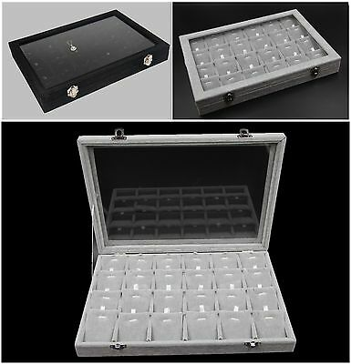 1x Grey Black Velvet Glass Jewellery Display Case Box Pendant Chain 24 Divisions
