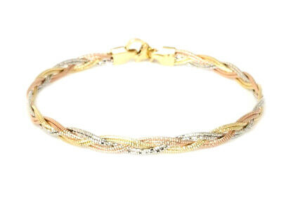 14k Multi color Gold Diamond Cut Braided Mirror Spring Bracelet,Necklace or both