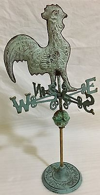 Vintage LARGE Handcrafted FULL Body ROOSTER Weathervane Copper Patina