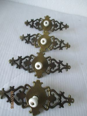 4 Vintage 1967 Ornate Brass Drawer Knobs  Pulls w/White Ceramic French Style
