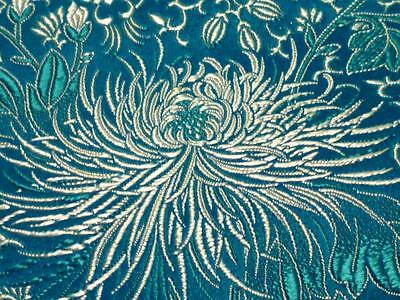 """Striking Blue Floral Vintage 29"""" by 4 Yards 27"""" Upholstery Fabric Embroidery EXC"""
