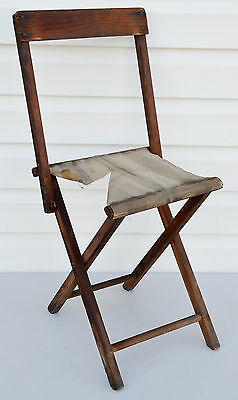 VTG Folding Child Camping Chair ~ Wood w/ Cloth Seat ~ Primitive Decor Cool