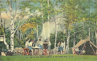 Vintage Old Postcard Unused Linen Camping In White Mountains New Hampshire