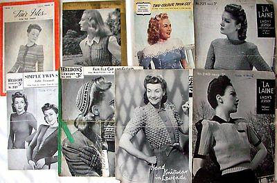8 Vintage Knitting Pattern Leaflets with Designs for Women -Acceptable Condition