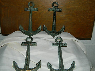 "Set/4 Nautical Boat Anchor Aged Brass Patina Iron Wall Decor Hangings 7 1/2"" Tal"