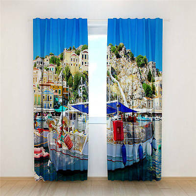 Amazing Ship Water 3D Customize Blockout Photo Curtains Print Home Window Decor