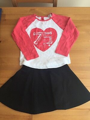 River Island Black Skater Skirt With M&S Top 3-4Yrs