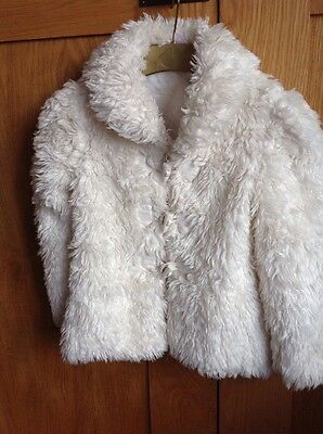 Girls Next Ivory Fun Fur Coat / Jacket age 2 - 3  EU 98  cm