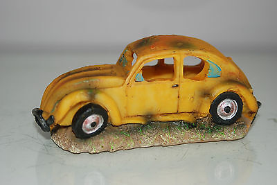VW Yellow Beetle Small Old Rustic Car Decoration 14.5 x 6x6.5 For All Aquariums