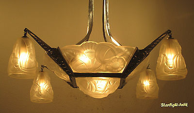 Stunning French Art Deco Chandelier 1925 - Signed: Degué ( David Gueron )