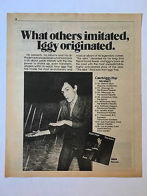 "1977 Original Iggy Pop ""The Idiot"" 11X14.5"" album release Promo Print Ad"