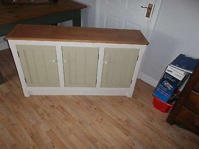 Three door cupboard pine top & painted bottom.