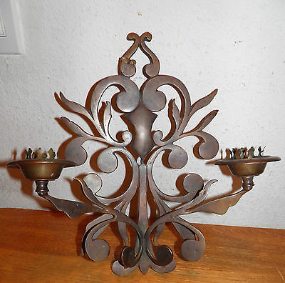 """Antique LARGE Solid Bronze Wall Sconce Candelabra Ornate Made in Italy Sz.12x13"""""""