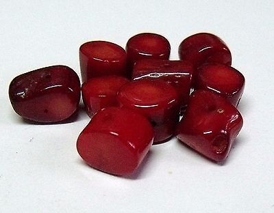 Dyed Deep Red Coral Beads.