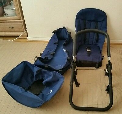 Bugaboo cameleon 1 and 2 navy blue fabric carrycot, seat, frame and free basket.