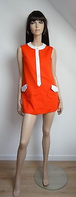 Robe Tunique Vintage 60/70's Mod Rouge/blanc Taille 38 Twiggy Jane Vtg Dress