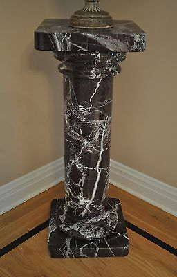 "PEDESTAL DARK MAROON MARBLE With WHITE VEINS Stand Column SOLID 38"" NYC area"