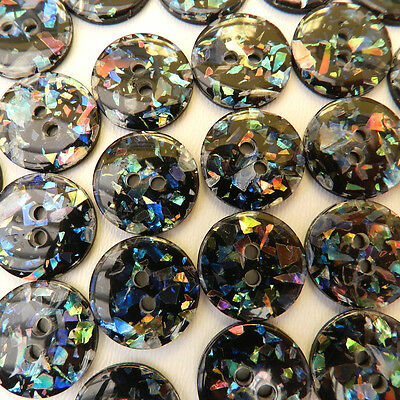 5x beautiful confetti sparkle black buttons sizes 12mm or 15mm  2 holes
