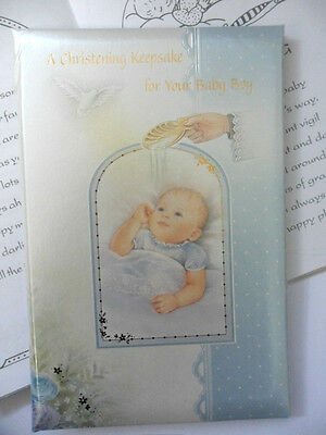 Christening /Baptism keepsake card for Boy. Padded 6 pages with verses, prayers