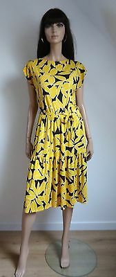 Robe vintage INTERVAL Made in France noire fleurs jaunes taille 38/40 - dress