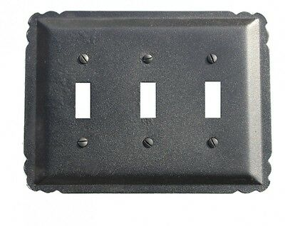 Switchplate Black Steel Triple Toggle | Renovators Supply