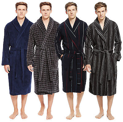 Marks & Spencer NEW Men's Pure Cotton Luxury Velour Dressing Gown Bath Robe MS25