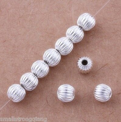 100 Pcs Silver Plated Loose spacer Beads Bracelets findings 6mm