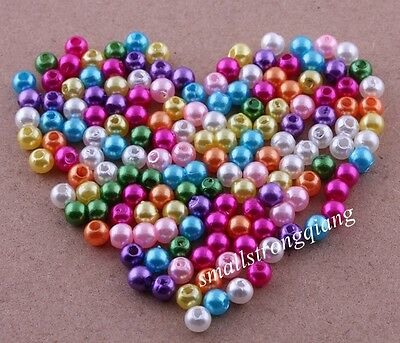 1000 pcs mixed color acrylic pearls spacer findings beads charms 4mm