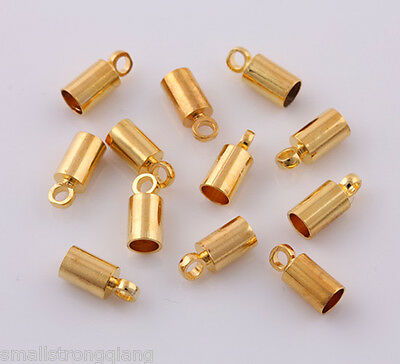 100 pcs Gold Plated Barrel Bead Leather Cord ends caps 4x9mm