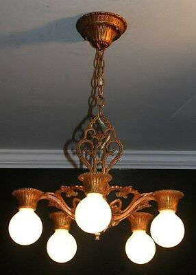 Antique polychrome 5 socket art deco light fixture ceiling chandelier 1930s