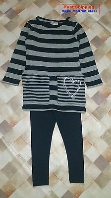 Bnwt Next Girls' Blue Stripe Sequin Heart Tunic With Legging Various Size