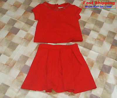 BNWT NEXT Girls' 2 PC Red Top and Skirt Set Various Size