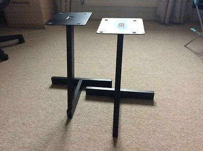2 x METAL STEREO SPEAKER STANDS WITH REMOVABLE SPIKES