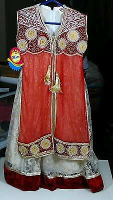 Fabulous Long Jacket Style Red & Gold Net Kids Anarkali Suit Various Sizes