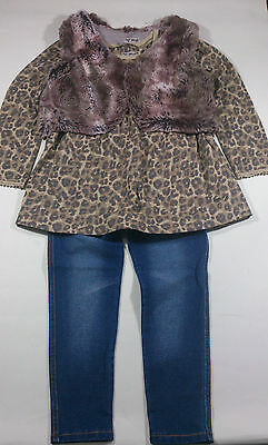 BNWT Next Girls' Leopard Print Dress with Faux Fur Jacket and Jeans 2-3 Years