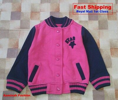 Bnwt Next Girls' Blue Striped Pink Jacket  3 Years