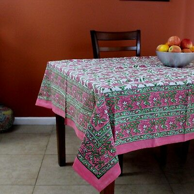 Hand Block Print Cotton Floral Tablecloth Square 60x60 inches Pink Green