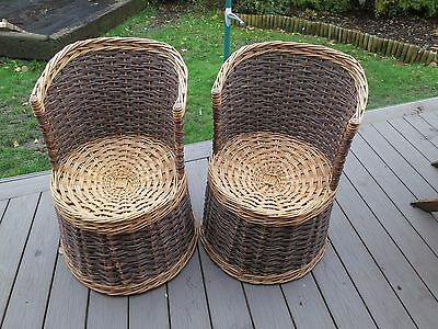 Pair of Vintage Wicker Conservatory Chairs - brown and natural weave