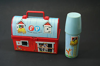 vintage Fisher Price lunch box barn with thermos COMPLETE NICE