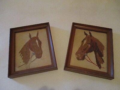 Vintage Pair Framed Horse Needlepoint Small Animal Equestrian Textile