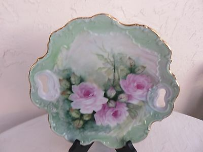 Limoge Plate Fusia Pink Hand Painted Roses Signed by Dolly Waters