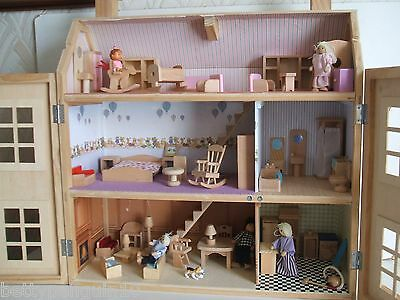 Wooden Dolls House with Figures & Loads of Furniture
