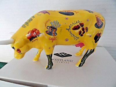 """Cow Parade """"more Than Just Meat""""cow #9193 2001 Silly Cow Promotes Food Items Mib"""