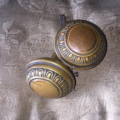 Vintage Victorian Brass Egg and Dart Art Noveau  Door Knobs