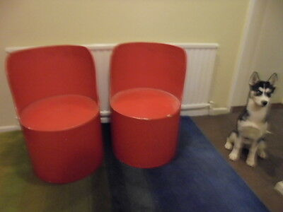 Original Pair Red Painted Retro Tomotom Tub Chairs Direct From House Clearance