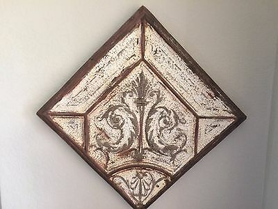 Shabby Chic Original Antique Ceiling Tile from 100 yr old Church Framed