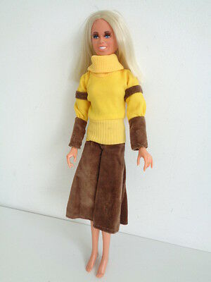 """*RARE* Vintage 1975 """"Cheryl Ladd"""" Mego 13"""" Doll - Yellow jumper/brown trousers"""
