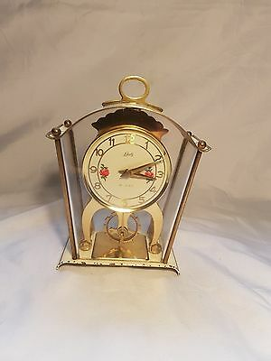 Vintage Schatz Germany 8 Day Mantel Clock With Flower Decoration